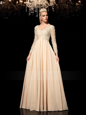 A-Line/Princess Chiffon V-neck Long Sleeves Applique Floor-Length Dresses
