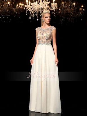 A-Line/Princess Floor-Length Rhinestone Sheer Neck Sleeveless Chiffon Dresses
