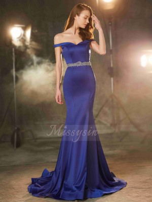 Trumpet/Mermaid Sleeveless Satin Sweep/Brush Train Off-the-Shoulder Crystal Dresses