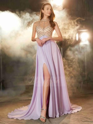 A-Line/Princess Sleeveless Chiffon High Neck Sweep/Brush Train Crystal Dresses
