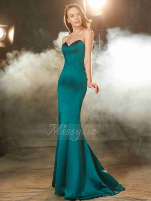 Trumpet/Mermaid Satin Sweetheart Sleeveless Sweep/Brush Train Ruched Dresses