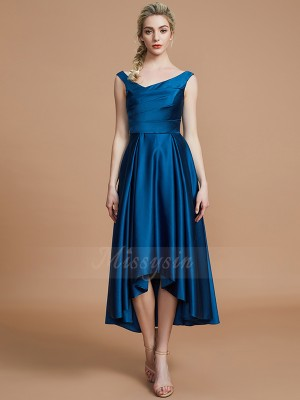 A-Line/Princess Sleeveless Asymmetrical Satin V-neck Bridesmaid Dresses