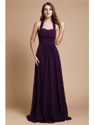 A-Line/Princess Sleeveless Halter Chiffon Ruffles Floor-Length Bridesmaid Dresses