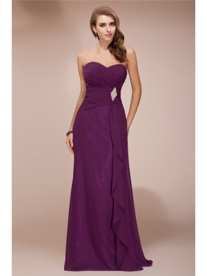 Sheath/Column Sleeveless Sweetheart Chiffon Ruffles,Beading Floor-Length Bridesmaid Dresses