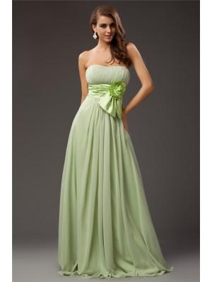 Sheath/Column Sleeveless Strapless Chiffon,Elastic Woven Satin Ruffles,Hand-Made Flower Floor-Length Bridesmaid Dresses