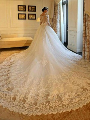 Ball Gown Off-the-Shoulder Cathedral Train 3/4 Sleeves Beading Tulle Wedding Dresses
