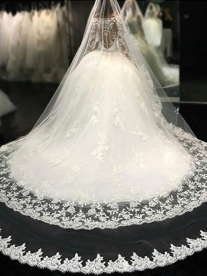 Ball Gown Scoop Cathedral Train Long Sleeves Tulle Wedding Dresses