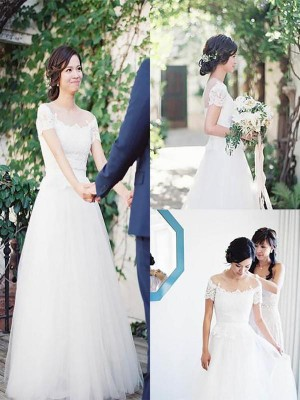 A-Line/Princess Off-the-Shoulder Floor-Length Short Sleeves Tulle Wedding Dresses