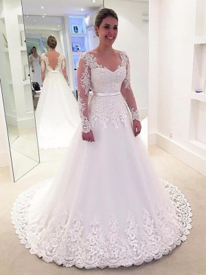 A-Line/Princess V-neck Sweep/Brush Train Long Sleeves Applique Tulle Wedding Dresses