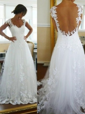 A-Line/Princess V-neck Tulle Sweep/Brush Train Sleeveless Wedding Dresses