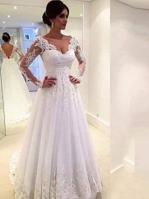 Ball Gown V-neck Tulle Sweep/Brush Train Long Sleeves Wedding Dresses