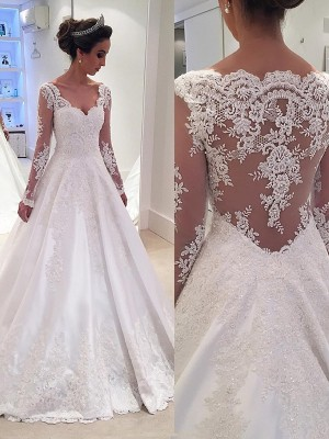 Ball Gown V-neck Satin Court Train Long Sleeves Wedding Dresses