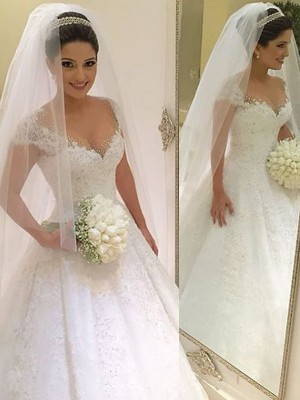Ball Gown V-neck Tulle Beading Floor-Length Sleeveless Wedding Dresses
