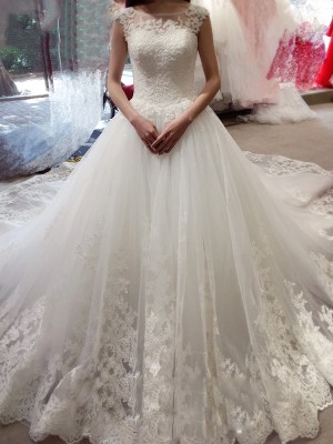 Ball Gown Bateau Tulle Applique Chapel Train Sleeveless Wedding Dresses