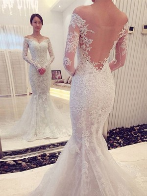 Trumpet/Mermaid Off-the-Shoulder Lace Chapel Train Long Sleeves Wedding Dresses