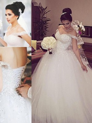 Ball Gown Off-the-Shoulder Tulle Court Train Sleeveless Wedding Dresses