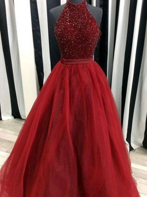 Ball Gown High Neck Organza Beading Floor-Length Sleeveless Dresses