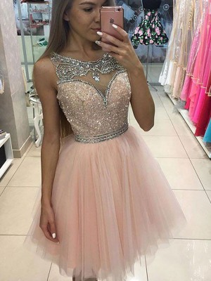 A-line/Princess Scoop Tulle Beading Short/Mini Sleeveless Dresses