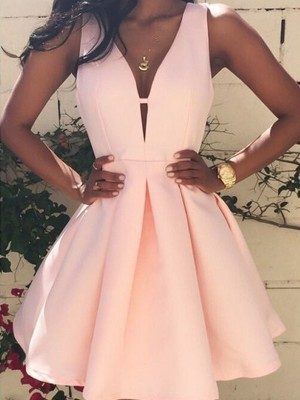 A-line/Princess V-neck Satin Short/Mini Sleeveless Dresses