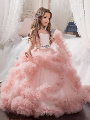 Ball Gown Short Sleeves Jewel Tulle Crystal Floor-Length Flower Girl Dresses