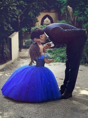 Ball Gown Sleeveless Off-the-Shoulder Tulle Crystal Floor-Length Flower Girl Dresses