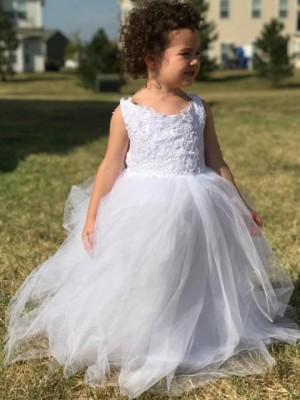 Ball Gown Sleeveless Jewel Tulle Lace Floor-Length Flower Girl Dresses