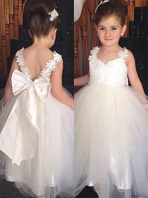 Ball Gown Sleeveless Sweetheart Tulle Bowknot Floor-Length Flower Girl Dresses