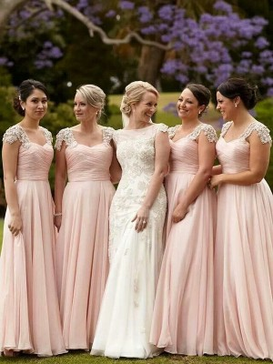 A-Line/Princess Square Short Sleeves Floor-Length Beading Chiffon Bridesmaid Dresses