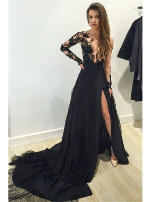 A-Line/Princess Bateau Long Sleeves Court Train Chiffon Dresses