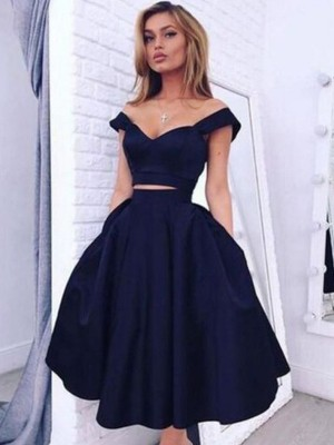 A-line/Princess Off-the-Shoulder Sleeveless Tea-Length Taffeta Dresses