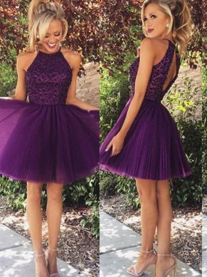 A-line/Princess Halter Sleeveless Short/Mini Beading Tulle Dresses