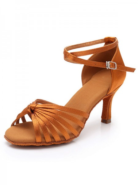 Silk Stiletto Heel Womens Peep Toe Sandals