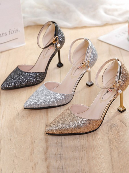 Stiletto Heel Closed Toe Sparkling Glitter Womens High Heels