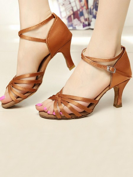 Satin Cone Heel Peep Toe Women's Sandals