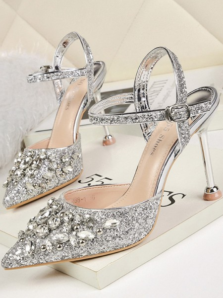 Rhinestone Stiletto Heel Closed Toe Women's Sandals