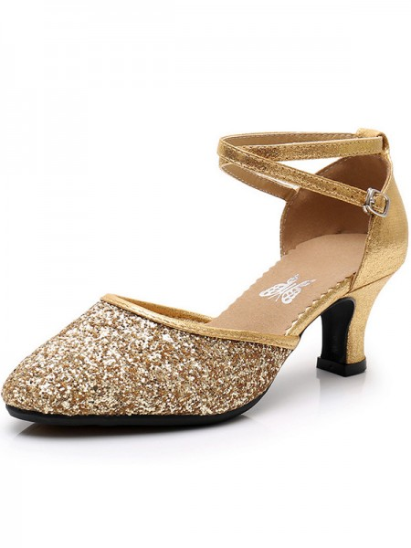 Sparkling Glitter Cone Heel Closed Toe Women's Sandals