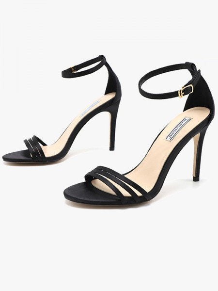 Silk Stiletto Heel Peep Toe Women's Sandals