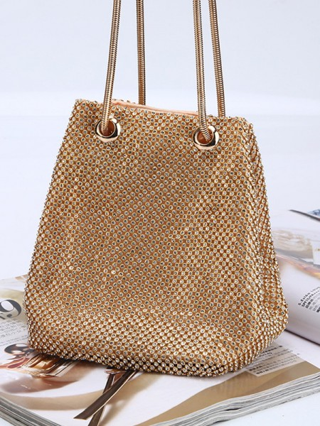 Drilling Wedding Evening/Party Gold Crystal Handbags
