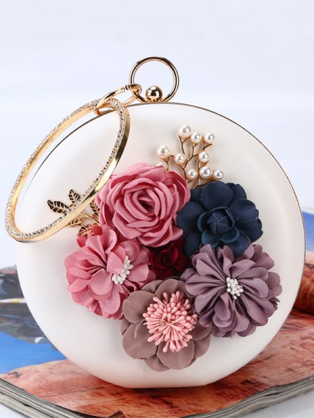 Round PU 3D Flowers Evening/Party Handbags