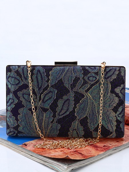 Vintage Leaf pattern Silk Womens Evening/Party Handbags