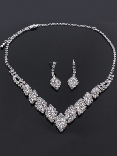 Wedding Bridal Rhinestone Unique Jewelry Set