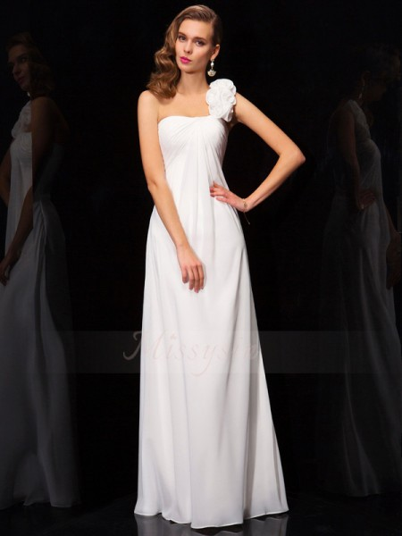 A-Line/Princess One-Shoulder Sleeveless Chiffon Floor-Length Pleats,Hand-Made Flower Dress