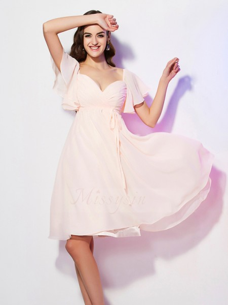 Sheath/Column Sweetheart Short Sleeves Chiffon Knee-Length Ruffles Bridesmaid Dress