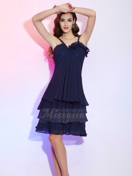 A-Line/Princess Spaghetti Straps Sleeveless Chiffon Knee-Length Ruffles Bridesmaid Dress