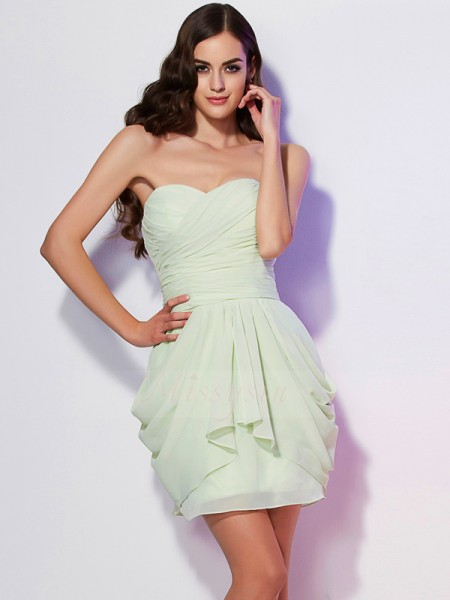 A-Line/Princess Sweetheart Sleeveless Chiffon Short/Mini Pleats Dress