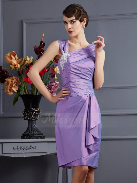 Sheath/Column Sleeveless Taffeta Knee-Length Applique Bridesmaid Dress