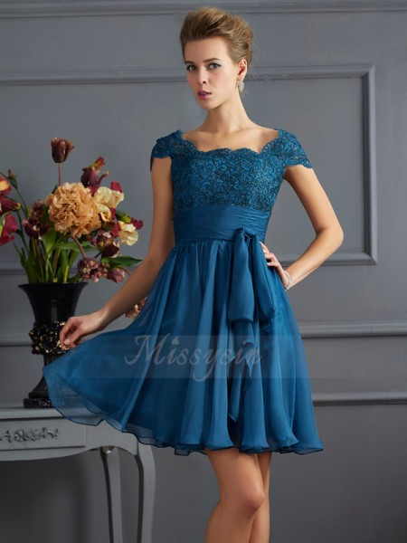 A-Line/Princess Scoop Short Sleeves Chiffon Short/Mini Dress
