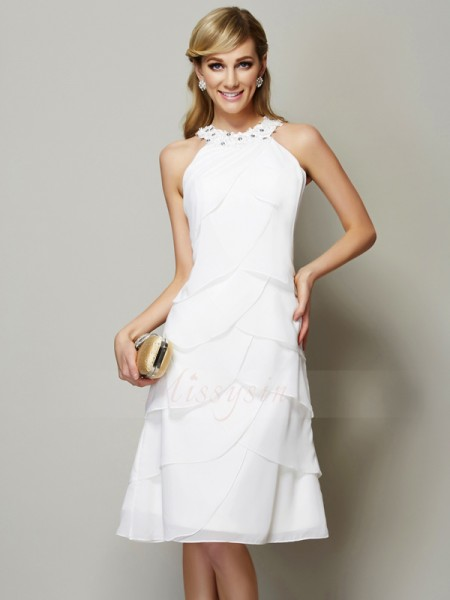 Sheath/Column Bateau Sleeveless Chiffon Knee-Length Beading,Applique Dress