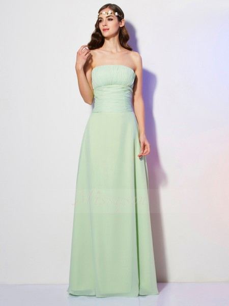 A-Line/Princess Strapless Sleeveless Chiffon Floor-Length Pleats Dress