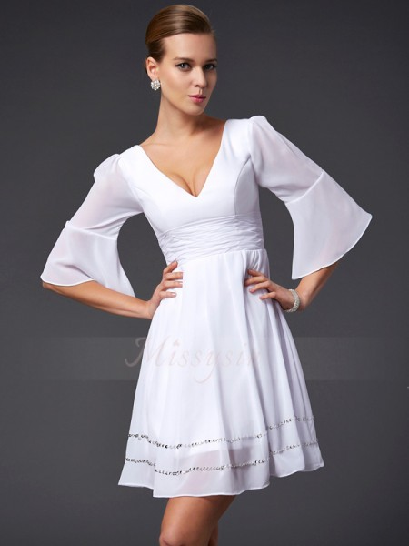 A-Line/Princess V-neck 1/2 Sleeves Chiffon Short/Mini Beading Dress